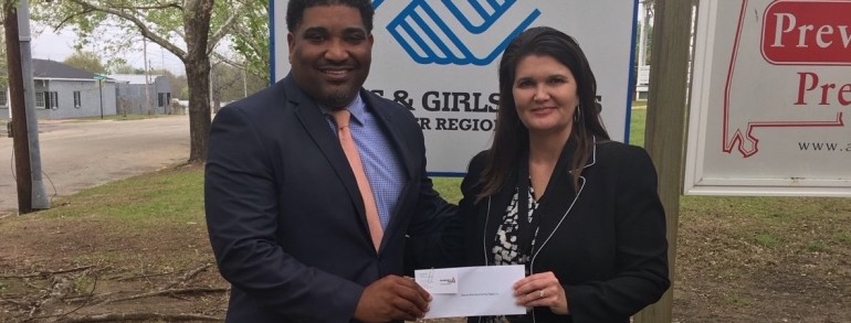 Rick Jackson, Chief Professional Officer, Boys & Girls Clubs of the River Region receives grant from Alabama Power for Project Learn.